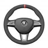 MEWANT Black Artificial Real Genuine Leather Suede Car Steering Wheel Covers for Skoda Citigo Fabia Karoq Roomster Rapid Octavia Superb Yeti Kodiaq