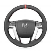 MEWANT Hand Stitch Black PU Leather Real Genuine Leather Car Steering Wheel Cover for Honda Accord 8 2008-2013 / Pilot 2009-2015 / Odyssey 2011-2017