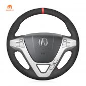 MEWANT Hand Stitch Black Suede Car Steering Wheel Cover for Acura MDX 2007-2013
