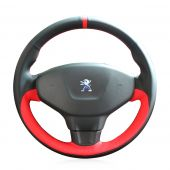 For Peugeot 301, MEWANT Custom Black Red Leather With Red Marker Hand Stitched Wrap Steering Wheel Cover