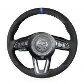 For Mazda 3 Axela 2017-2019 Mazda 6 Atenza 2017-2019 CX-5 CX5 2017-2019 Mazda CX-9 2016-2019,MEWANT Custom Hand-stitched Black Suede Genuine Leather Steering Wheel Cover Wrap