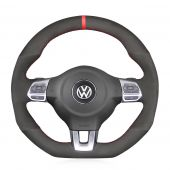 For Volkswagen Golf 6 GTI MK6 VW Polo GTI Scirocco R Passat CC R-Line 2010, Black Suede With Marker Wrap Steering Wheel Cover