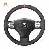MEWANT Hand Stitch Black Suede Car Steering Wheel Cover for Suzuki Grand Vitara 2006-2014