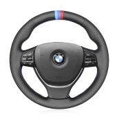 MEWANT Hand Stitch Black PU Leather Real Genuine Leather Car Steering Wheel Cover for G20 F44 G22 G23 G26 G30 G32 G11 G14 G01 G02 G05 G06 G07 G29