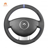 MEWANT Hand Stitch Black Suede Car Steering Wheel Cover for Renault Duster Dokker Lodgy Logan Sandero
