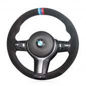 MEWANT Hand Stitch Black Suede Real Genuine Leather Car Steering Wheel Cover for BMW M Sport F30 F31 F34 F10 F11 F07 / F12 F13 F06 X3 F25 X4 F26 X5 F15 M50d X6 F16 M50d F20 F21 M135i M140i F45 F46 F22 F23 M235i M240i F32 F33 F36 X1 F48 X2 F39