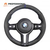 MEWANT Hand Stitch Black Suede Top Marker with Hollow Decor Car Steering Wheel Cover for BMW M Sport F30 F31 F34 F10 F11 F07 / F12 F13 F06 X3 F25 X4 F26 X5 F15 M50d X6 F16 M50d F20 F21 M135i M140i F45 F46 F22 F23 M235i M240i F32 F33 F36 X1 F48 X2 F39