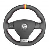 For Volkswagen Golf 5 Mk5 GTI VW Golf 5 R32 Passat R GT 2005 MEWANT Black Genuine Leather Car Steering Wheel Cover