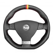 For Volkswagen VW Golf 5 Mk5 GTI VW Golf 5 R32 Passat R GT 2005,MEWANT Black Synthetic Suede with Genuine Leather  Steering Wheel Cover Skin