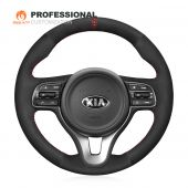 MEWANT Hand Stitch Black Suede with Hollow Design Top Strip Car Steering Wheel Cover for Kia K5 Optima 2016-2018 / Sportage KX5 2016-2019 / Niro 2017-2019