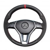 MEWANT Hand Stitch Sewing Black Real Genuine Leather Suede Car Steering Wheel Cover for Mercedes Benz B-Class W246 C-Class W204 CLA-Class C117 CLS-Class C218 E-Class W212 GLA-Class X156 GLK X204