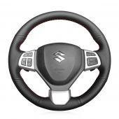 MEWANT Hand Sewing Black Genuine Leather Car Steering Wheel Cover for Suzuki Swift Sport 2012-2017 / Vitara S 2016-2019