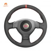 MEWANT Hand Stitch Black PU Leather Real Genuine Leather Car Steering Wheel Cover forSubaruImprezaWRXSTI2002-2004