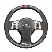 MEWANT Hand Stitch Black Suede Real Genuine Leather Carbon Fiber Car Steering Wheel Cover for Infiniti FX FX35 FX45 2003-2008 for Nissan 350Z 2002-2009