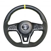 MEWANT Suede Genuine Leather Car Steering Wheel Cover for Nissan Qashqai X-Trail Leaf Juke Micra Serena 2017 2018-2020 Altima