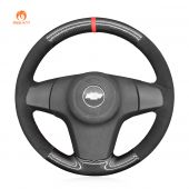MEWANT Hand Stitch Black PU Leather Real Genuine Leather Suede Carbon Fiber Car Steering Wheel Cover for Chevrolet Niva Opel Corsa Vauxhall Corsa