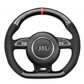 MEWANT Hand Stitch Black Genuine Leather Suede Carbon Fiber Car Steering Wheel Cover for Audi S1 (8X) S3 (8V) Sportback S4 (B8) Avant S5 (8T) S6 (C7) S7 (G8) RS Q3 (8U) SQ5 (8R)