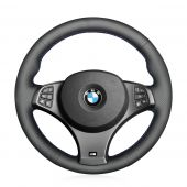 For BMW X3 M Sport E83 2005 2006 2007 2008 2009 2010 MEWANT Black Genuine Leather Car Steering Wheel Cover