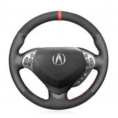 MEWANT Hand Stitch Black Suede Real Genuine Leather Car Steering Wheel Cover for Acura TL 2007-2008