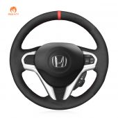 MEWANT Hand Stitch Black Suede Car Steering Wheel Cover for Honda CR-Z CRZ 2011-2016