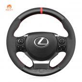 MEWANT Black Suede Leather Carbon Fiber Car Steering Wheel Cover forLexusIS200t250300350FSportRCCT200hNX2015-2021