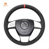 MEWANT Hand Stitch Black Suede Car Steering Wheel Cover for Mazda 8 2011- 2015