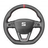 For Seat Leon Cupra R Leon ST Cupra 2013-2019 Ateca Cupra Ateca FR Ibiza Cupra 2016-2019,MEWANT Custom Hand-stitched Leather Steering Wheel Cover Wrap