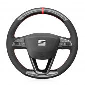 MEWANT Hand Stitch Black Suede Carbon Fiber Car Steering Wheel Cover for Seat Leon 2013-2020 Toledo 2014-2015 Arona 2017-2020