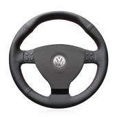 For Volkswagen VW EOS MK5 2005 2006 2007 2008,Mewant Black Leather Hand-sewing Steering Wheel Cover Wrap Protecter