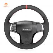 MEWANT Hand Stitch Black Suede Car Steering Wheel Cover for Isuzu D-Max 2016-2019 / MU-X 2013-2020 / for Holden Colorado (AU) 2012-2019