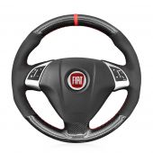 MEWANT Hand Stitch Black PU Leather Real Genuine Leather Suede Cabron Fiber Car Steering Wheel Cove for Fiat Punto Bravo Linea Qubo Doblo Grande Punto for Opel Combo (D)