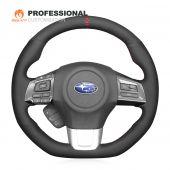 MEWANT Hand Stitch Black Suede with Hollow Design Decor Car Steering Wheel Cover for Subaru WRX (STI) Levorg 2015 2016 2017 2018 2019