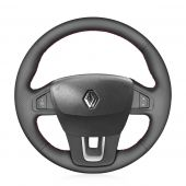 For Renault Laguna 2008-2015 Latitude 2010-2015, MEWANT Custom Hand-stitched Black Leather Steering Wheel Cover Skin