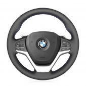 For BMW X5 F15 X5 M F85 X6 F16 X6 M F86 2015-2019 MEWANT Black Genuine Leather Wrap Car Steering Wheel Cover