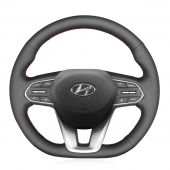 For Hyundai Santa Fe 2019, MEWANT Hand-stitched Steering Wheel Cover Wrap Protect