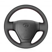 MEWANT  Hand Sew Black Genuine Leather Car Steering Wheel Cover Wrap for Hyundai Getz 2006-2010 / Accent 2006-2010
