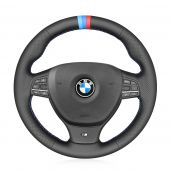 For BMW 5 Series M Sport F10 (Sedan) 2009 2010 2011 2012 2013,MEWANT Hand-stitched Black Leather Steering Wheel Cover Wrap Protected