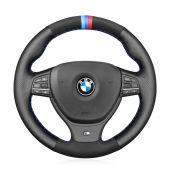 MEWANT Hand Stitch Black Real Genuine Leather Suede Car Steering Wheel Cover for BMW M Sport F10 F11 F07 M5 F10 2011-2013 F12 F13 F06 / F01 F02