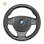 MEWANT Hand Stitch Black Carbon Fiber Suede with Hollow Top Strip Car Steering Wheel Cover for BMW M Sport F10 F11 F07 M5 F10 2011-2013 F12 F13 F06 / F01 F02