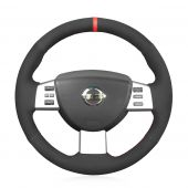MEWANT Hand Stitch Black Red PU Leather Real Genuine Leather Suede Car Steering Wheel Cover for Nissan Murano 2004-2008 Altima 2005-2006 Maxima 2004-2008 Murano 2003-2007 Quest 2004-2009