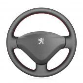 MEWANT Custom Hand Sewing Black Genuine Leather Car Steering Wheel Cover Wrap Skin for Peugeot 207 Expert Partner Citroen Berlingo Jumpy Fiat Scudo Toyota Proace