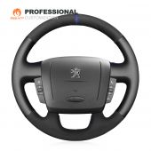 MEWANT Custom Black Blue Real Genuine Leather Suede Car Steering Wheel Cover Wrap for Peugeot Boxer 2006-2019 Citroen Jumper 2006-2019 Relay 2008-2019 Fiat Ducato 2006-2019