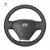 MEWANT Hand Stitch Black PU Leather Real Genuine Leather Suede Car Steering Wheel Cover for Hyundai Tiburon 2003-2006 Coupe 2002-2007