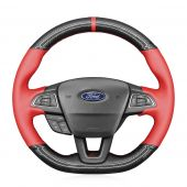 MEWANT Hand Stitch Sewing Black Leather Suede Carbon Fiber Car Steering Wheel Cover for Ford Focus (RS   ST   ST-Line) 2015-2018 / Kuga (ST-Line) 2019 / Ecosport (ST-Line) 2017-2020