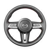 MEWANT Hand Sewing Black PU Leather Real Genuine Leather Car Steering Wheel Cover for Mazda CX-30 CX30 2019-2020 Mazda 3 Axela 2019-2020