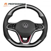 MEWANT Hand Stitch Carbon Fiber Black Suede Genuine Leather Car Steering Wheel Cover for Volkswagen VW Golf 8 MK8 GTI Golf GTE 2020-2021