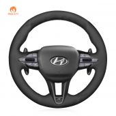 MEWANT Hand Stitch Black Suede with Embroidery Decoration Car Steering Wheel Cover for Hyundai i30 N 2018-2020 / Veloster N 2019-2021