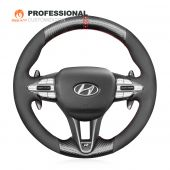 MEWANT Hand Stitch Red Leather Black Suede Carbon Fiber Hollow Design Car Steering Wheel Cover for Hyundai i30 N 2018-2020 / Veloster N 2019-2021