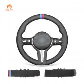 MEWANT Black Suede or PU Leather or Genuine Leather Car Steering Wheel Covers for BMW M2 F87 M3 F80 M4 F82 F83 M5 F10 M6 F06 F12 F13 X5 M F85 X6 M F86