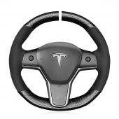 MEWANT Hand Stitch Carbon Fiber Suede Car Steering Wheel Cover for Tesla Model 3 2017 2018 2019 2020